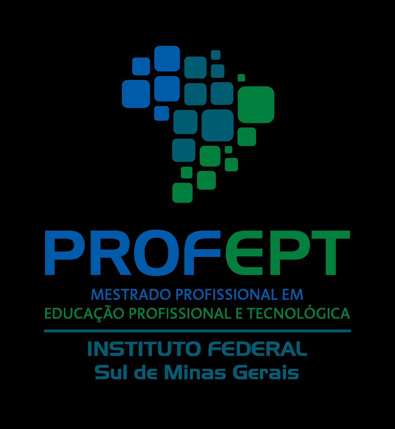 arte com o logo do ProfEPT com imagem do mapa do Brasil em verde e azul