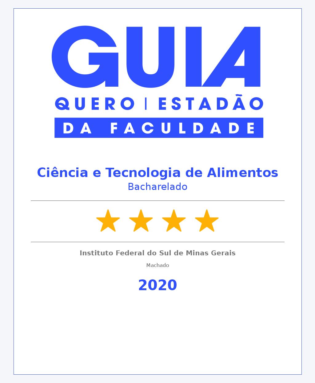Ciência e Tecnologia de Alimentos Bacharelado Machado 4 Estrelas