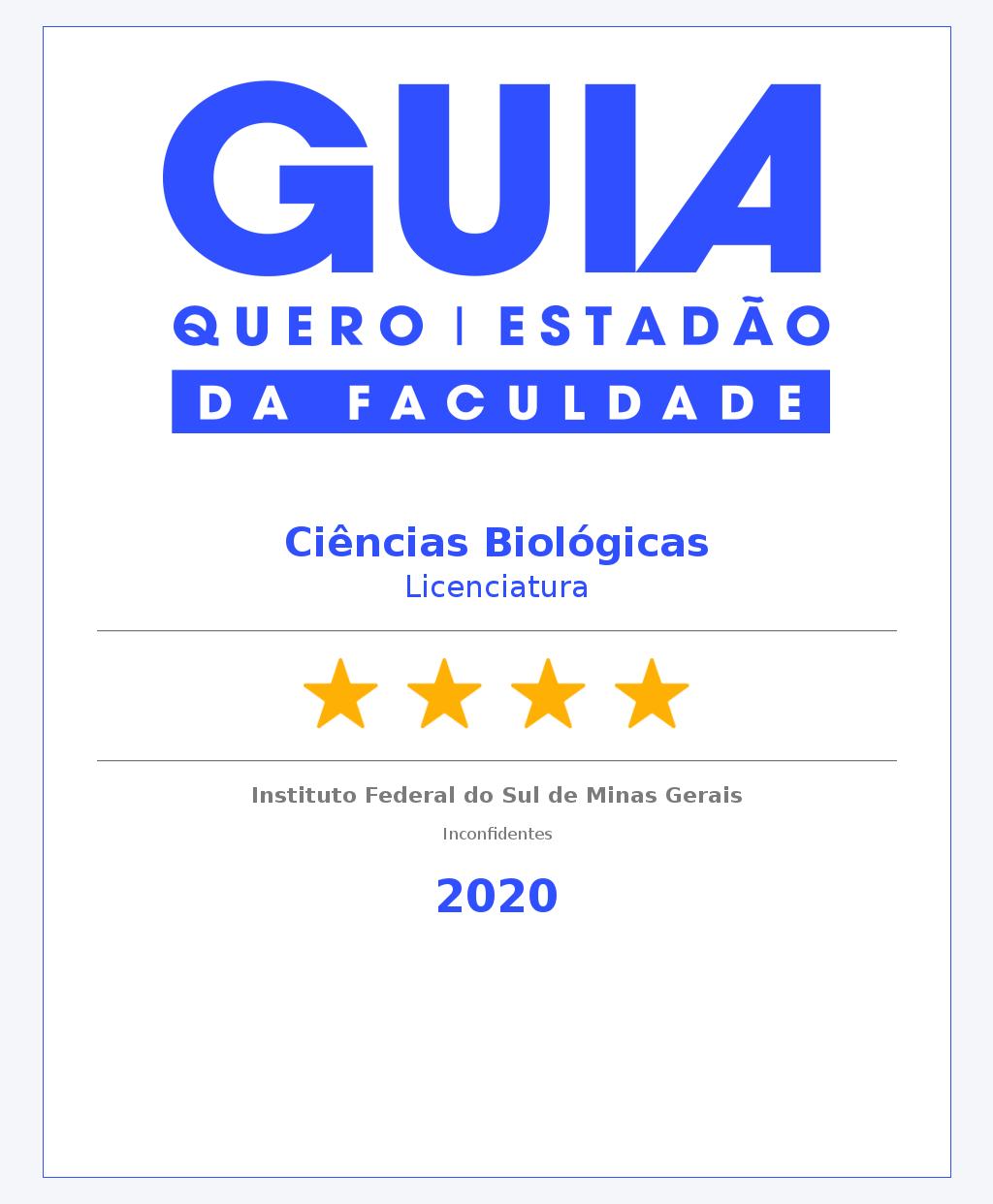 Ciências Biológicas Licenciatura Inconfidentes 4 Estrelas