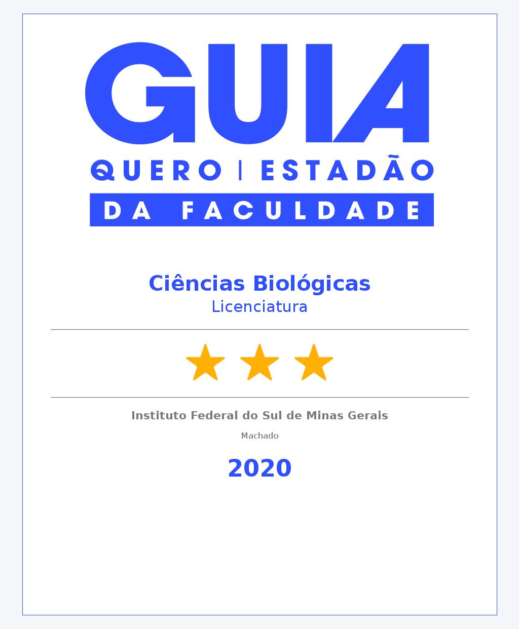 Ciências Biológicas Licenciatura Machado 3 Estrelas
