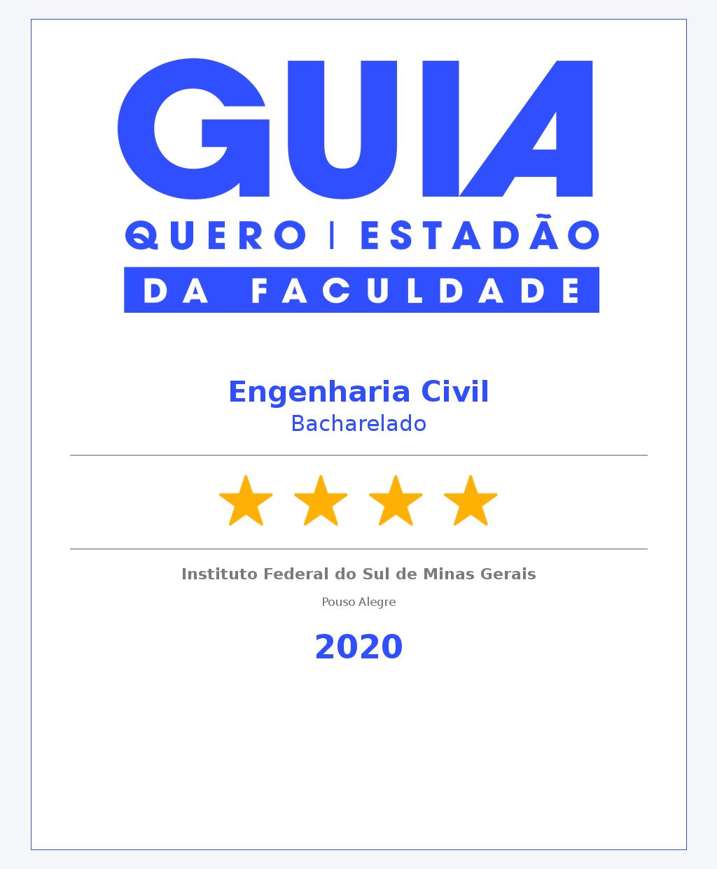 Engenharia Civil Bacharelado Pouso Alegre 4 Estrelas